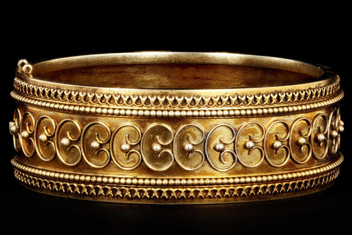 Victorian Etruscan Revival 15K Yellow Gold Bangle c.1880's - Queen May