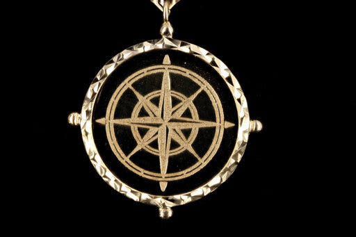 New 14K Yellow Gold Compass Medallion Pendant Paperclip Necklace - Queen May