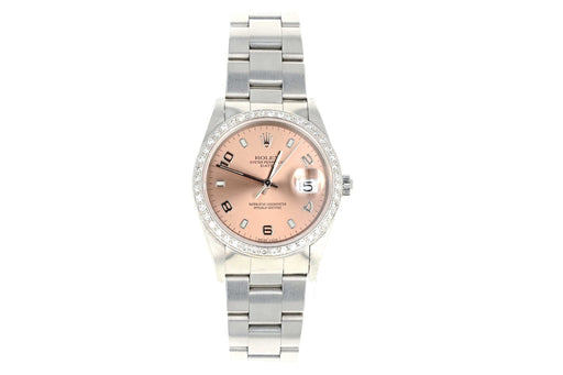 Rolex 15200 Oyster Perpetual Date 1 Carat Diamond Bezel Pink Face - Queen May