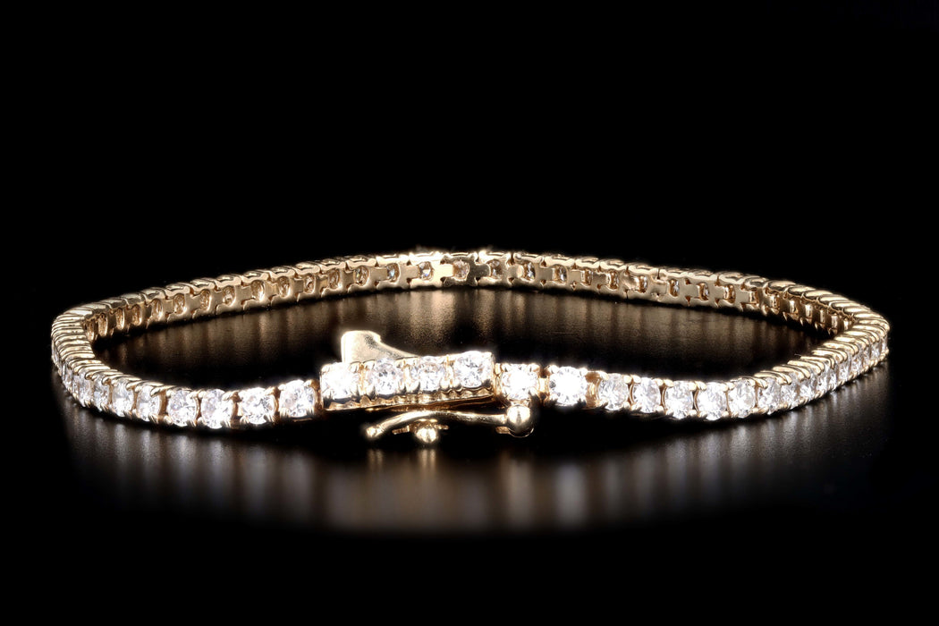 New 14K Yellow Gold 3.1 Carat Round Brilliant Cut Diamond Tennis Bracelet - Queen May