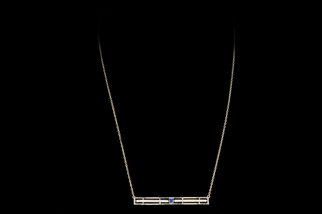 Art Deco 10K Yellow Gold Carat Synthetic Sapphire Bar Pin Conversion Necklace - Queen May