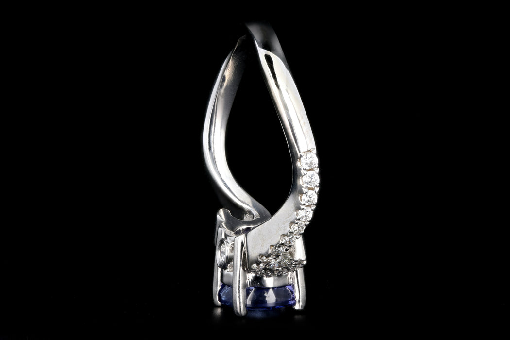 Modern 14K White Gold 1.63CT Tanzanite and Diamond Ring - Queen May