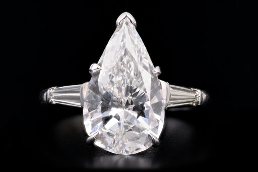 New Platinum 3.68 CTR Pear Cut Diamond Engagement Ring GIA Certified - Queen May