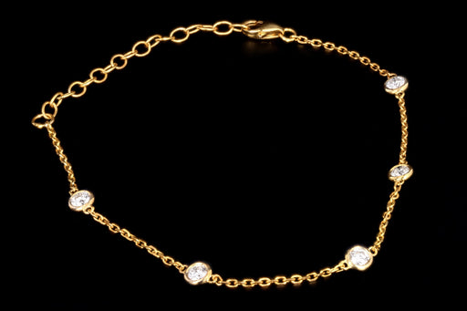 New 14K Yellow Gold .50 Carat Diamond By The Yard Bracelet - Queen May