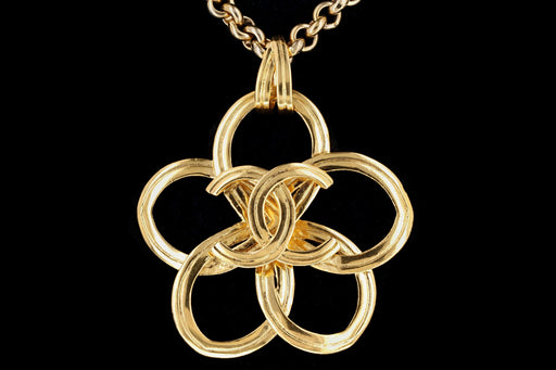 1990's Rare Chanel Gold Plated Pendant Necklace - Queen May