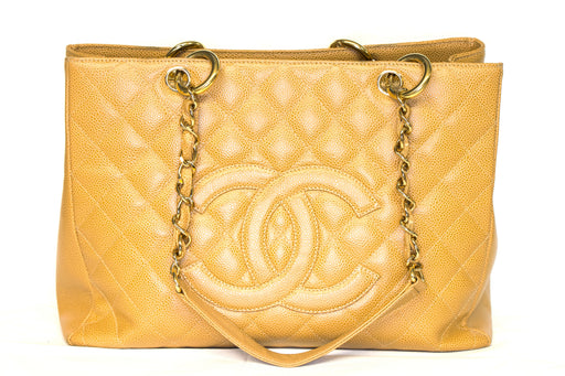 Chanel Caviar Grand Shopping Tote Camel - Queen May