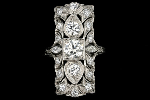 Art Deco Platinum Three Stone Old European Diamond Shield Ring 2.5 CTW - Queen May