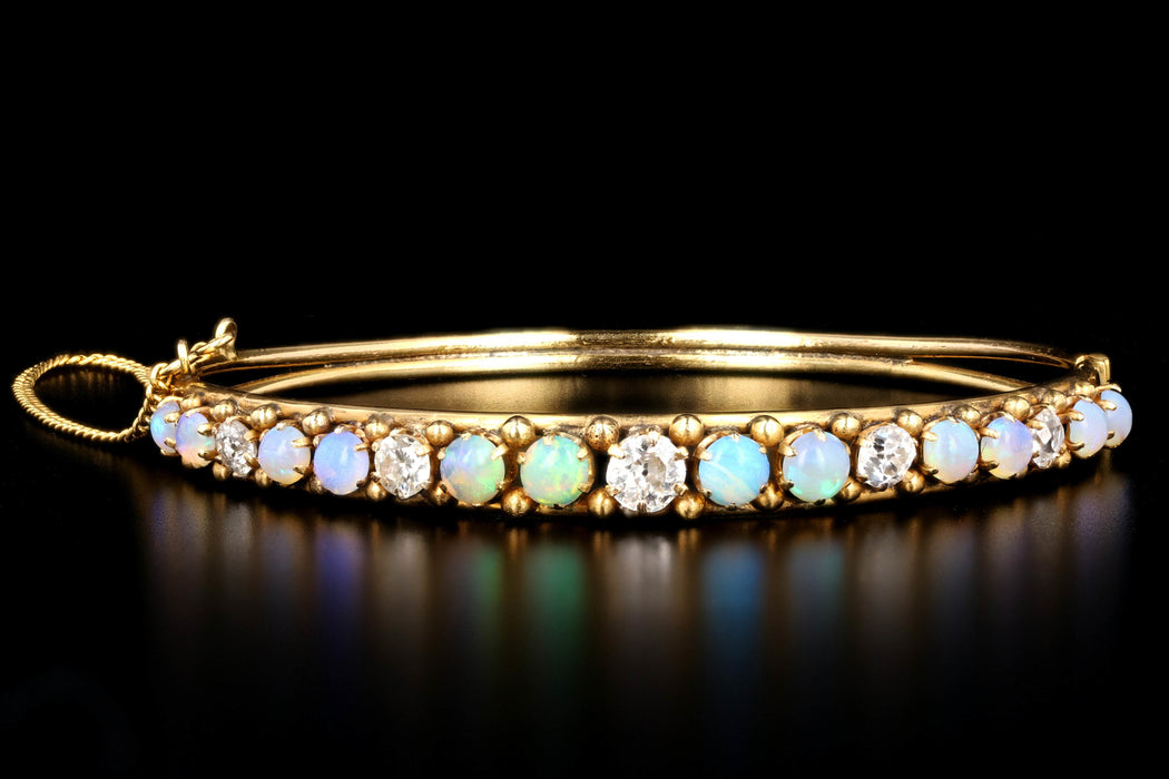 Victorian 14K Yellow Gold Cabochon Opal & Old European Cut Diamond Bangle Bracelet - Queen May