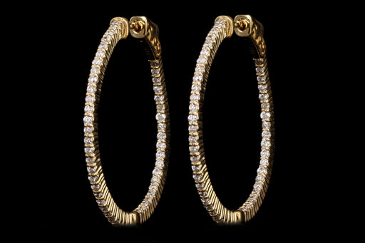 New 14K Yellow Gold 0.93 Carat Round Brilliant Diamond Inside-Outside Hoop Earrings - Queen May