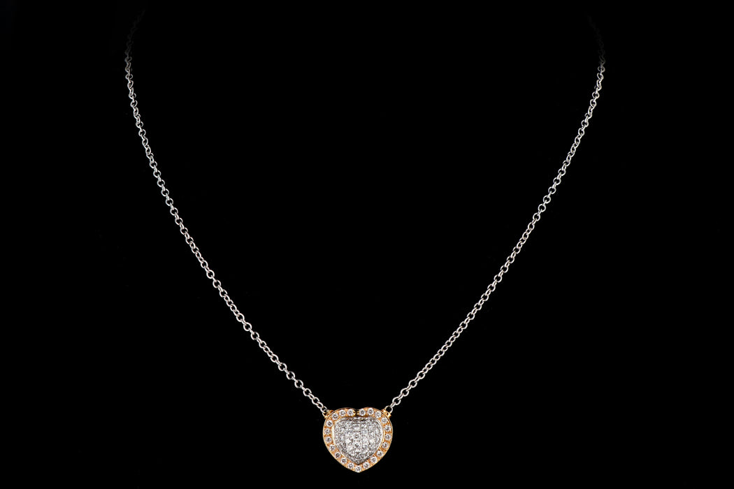 Modern 18K White and Rose Gold .75CTW Diamond Heart Pendant - Queen May