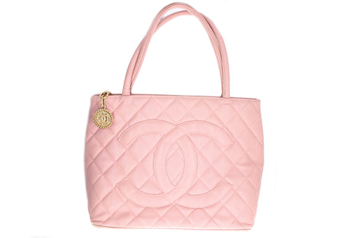 Chanel Pink Quilted Caviar Medallion Tote - Queen May