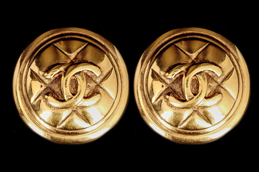 Vintage Chanel Logo Clip On Statement Earrings - Queen May