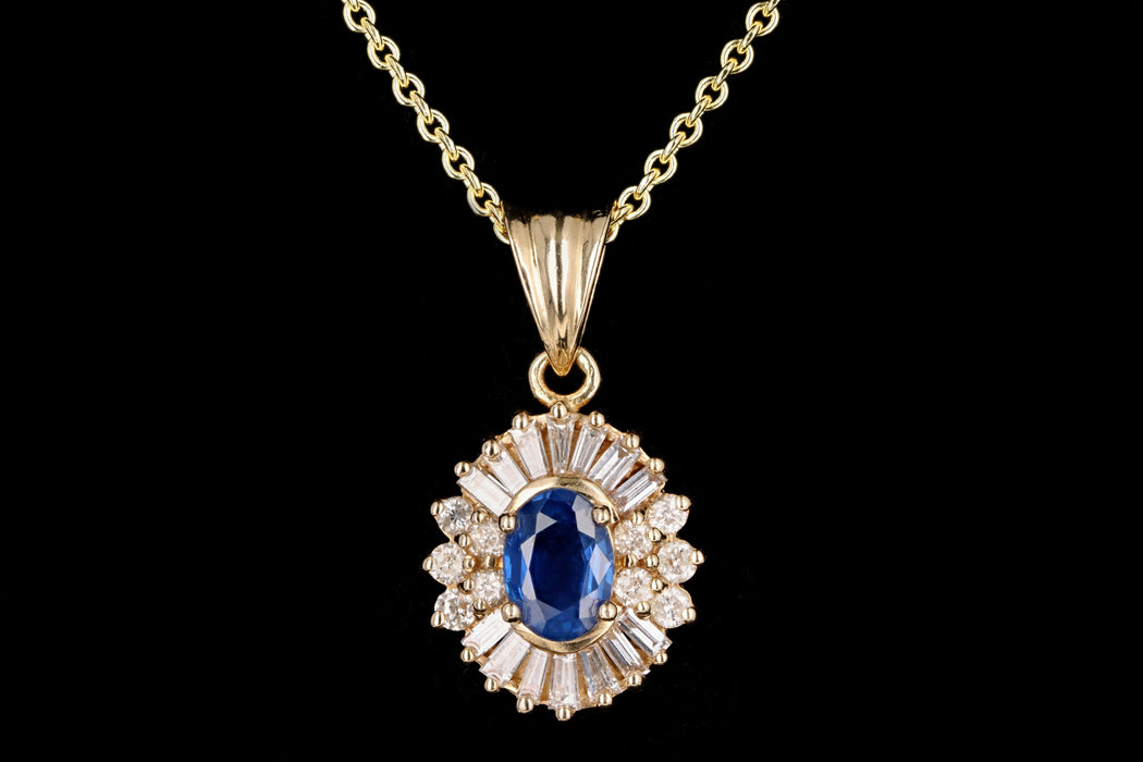 Retro 14K Yellow Gold .85 Carat Natural Sapphire & Diamond Pendant Necklace - Queen May