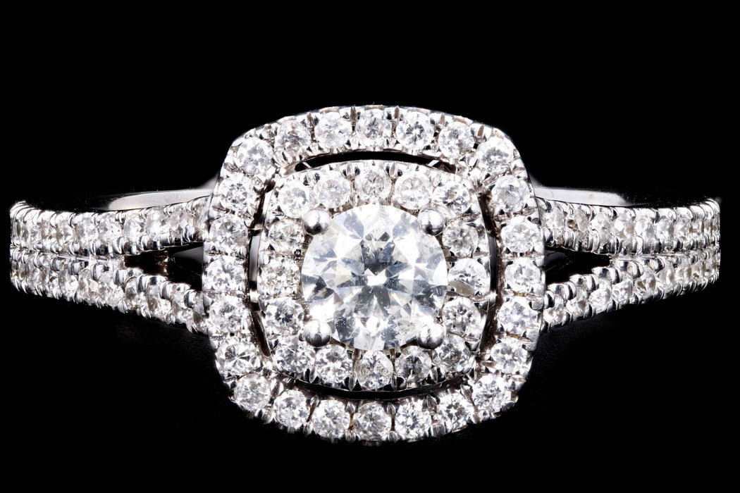 Modern 14K White Gold .25 Carat Round Brilliant Diamond Double Halo Split Shank Engagement Ring - Queen May