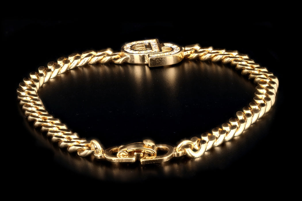 Christian Dior Rhinestone Logo Gold Plated Curb Link Bracelet - Queen May
