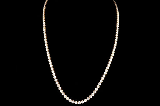 Modern 14K Yellow Gold 13.35 Carat Round Brilliant Diamond Necklace - Queen May