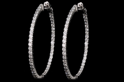 New 14K White Gold 2.03 Carat Round Brilliant Diamond Inside-Outside Hoop Earrings - Queen May