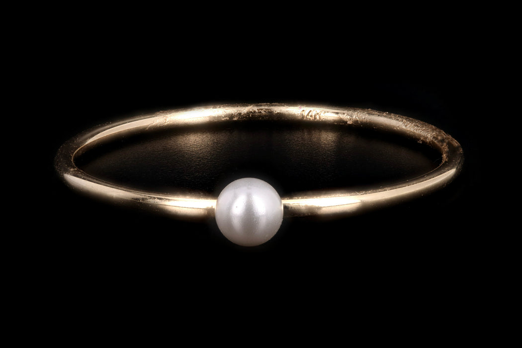 New 14K Yellow Gold Freshwater Cultured Pearl Stackable Ring - Queen May