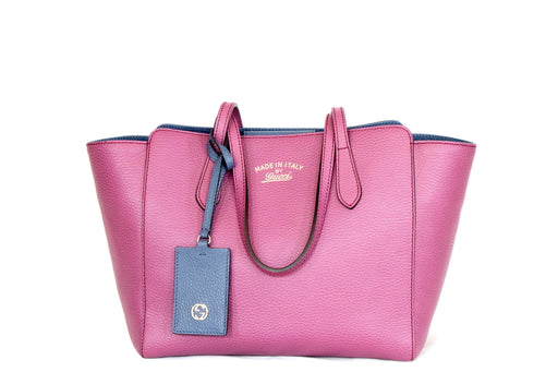 Gucci Swing Tote Small Leather Magenta - Queen May