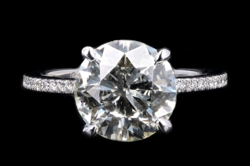 New 14K White Gold 3.51 Carat Round Brilliant Cut Diamond Engagement Ring GIA Certified - Queen May