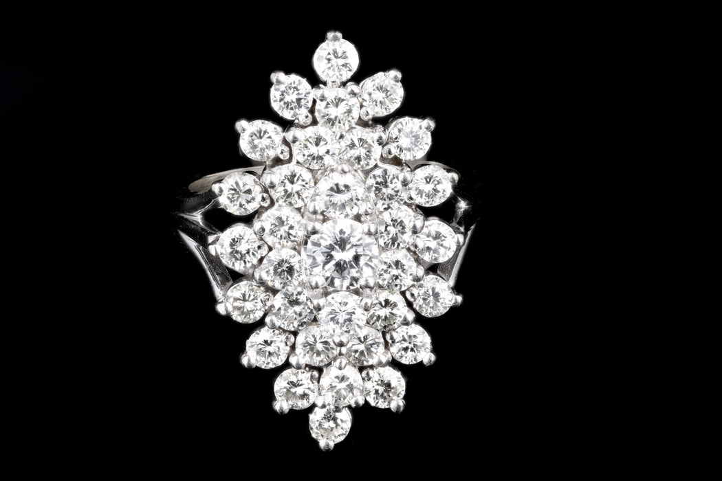 Modern 14K White Gold 3 Carat Round Brilliant Cut Diamond Cluster Ring - Queen May