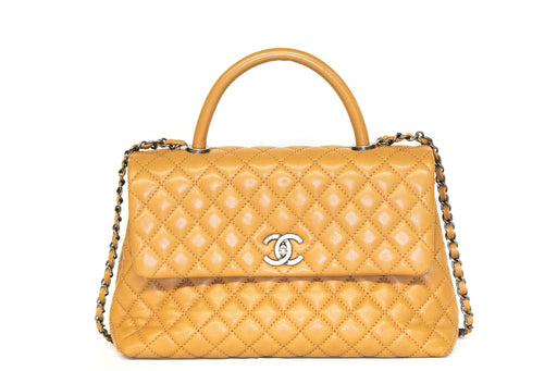 Chanel Caviar Medium Coco Handle Flap Bag Camel - Queen May