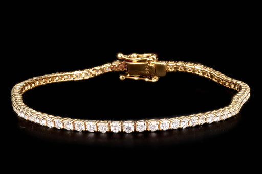 New 14K Yellow Gold 2.83 Carat Round Brilliant Cut Diamond Tennis Bracelet - Queen May