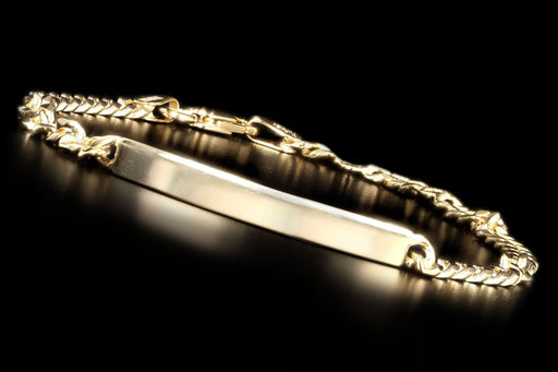 New 14K Yellow Gold Curb Link ID Bracelet - Queen May