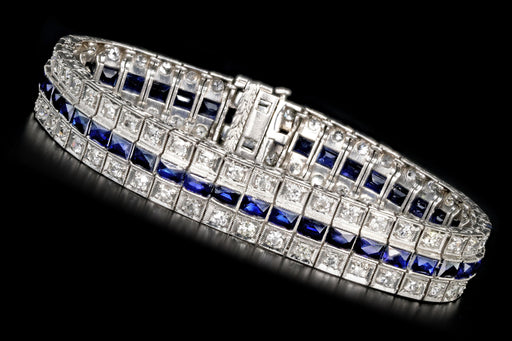 Art Deco Platinum 4CTW Old European Cut Diamond and 8CTW Synthetic French Cut Sapphire Bracelet - Queen May