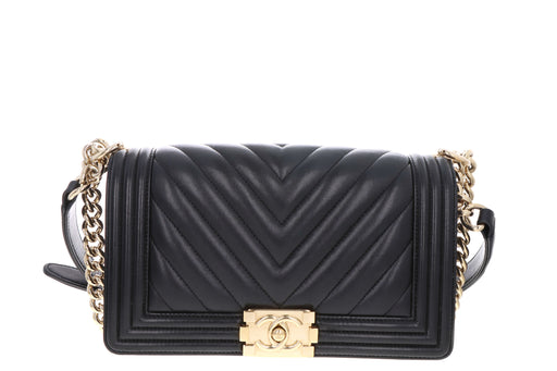 Chanel Lambskin Chevron Medium Boy Bag Black - Queen May