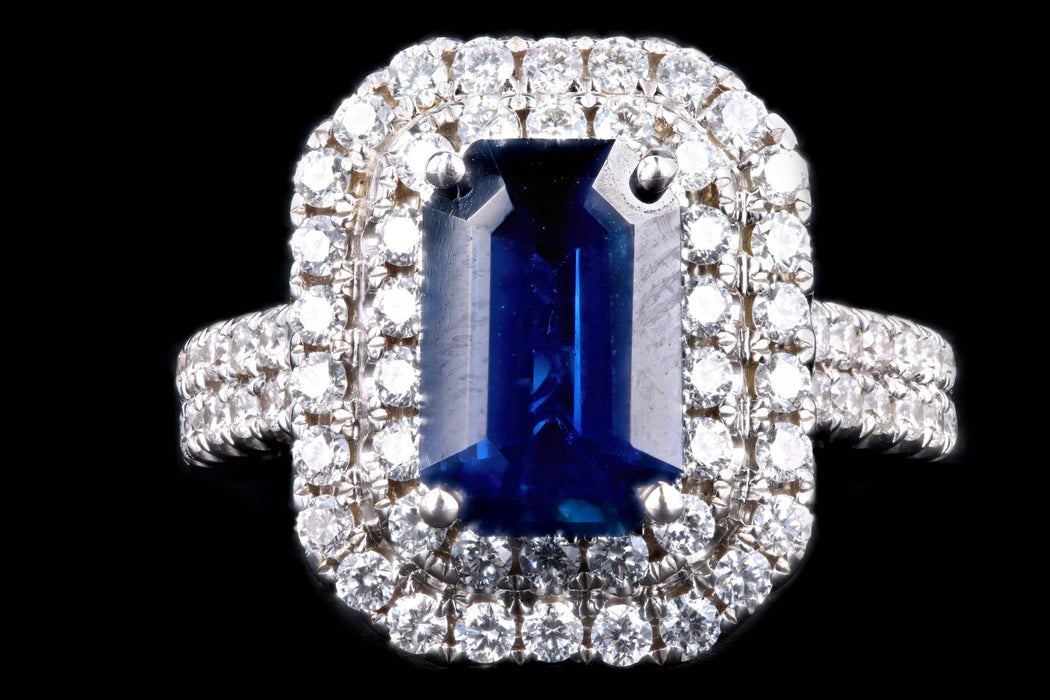 Modern 18K White Gold 2.44 Carat Sapphire & Diamond Double Halo Ring - Queen May