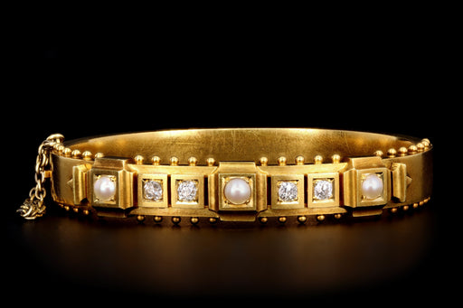 Victorian 18K Yellow Gold Old Mine Cut Diamond & Pearl Bangle Bracelet - Queen May