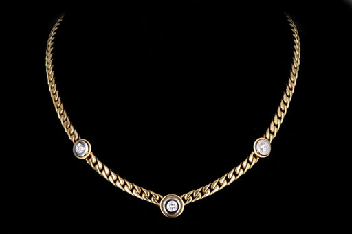 Modern 14K Yellow & White Gold .85 Carats Round Brilliant Cut Diamond Curb Link Necklace - Queen May