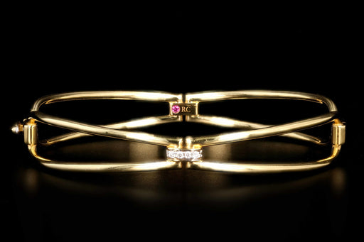 Roberto Coin 18K Yellow Gold Classic Parisienne Diamond Bangle - Queen May