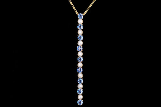 Victorian 14K Yellow Gold 1.8 Carats Total Natural Blue Yogo Gulch Sapphire and Pearl Bar Pin Conversion Necklace - Queen May