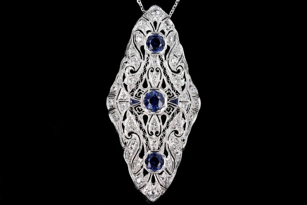 Art Deco Platinum 2.30 Carat Synthetic Sapphire & Diamond Pendant Necklace - Queen May