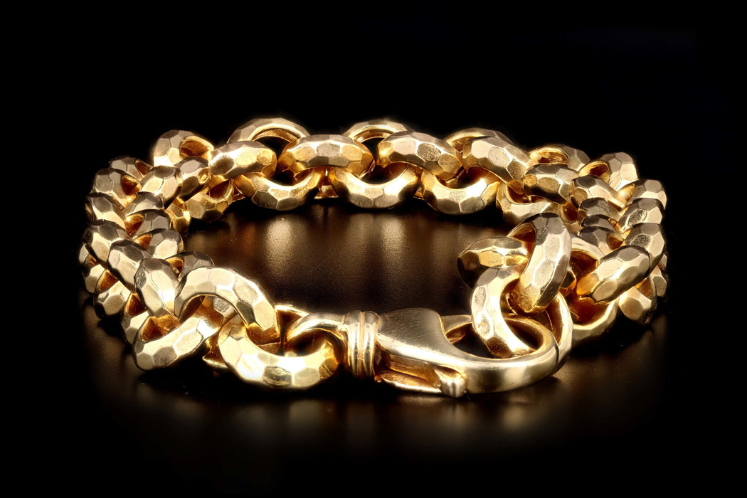 Modern 14K Yellow Gold Hammered Link Bracelet - Queen May