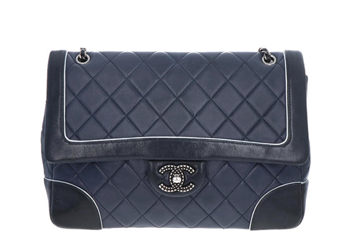 Chanel Cruise Collection Lambskin Two-Tone Black & Navy Single Flap Bag - Queen May