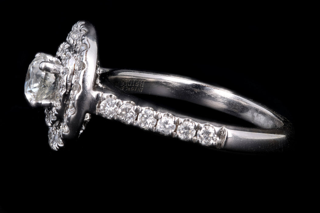 Modern 14K White Gold .35 Carat Round Brilliant Diamond Double Halo Engagement Ring - Queen May