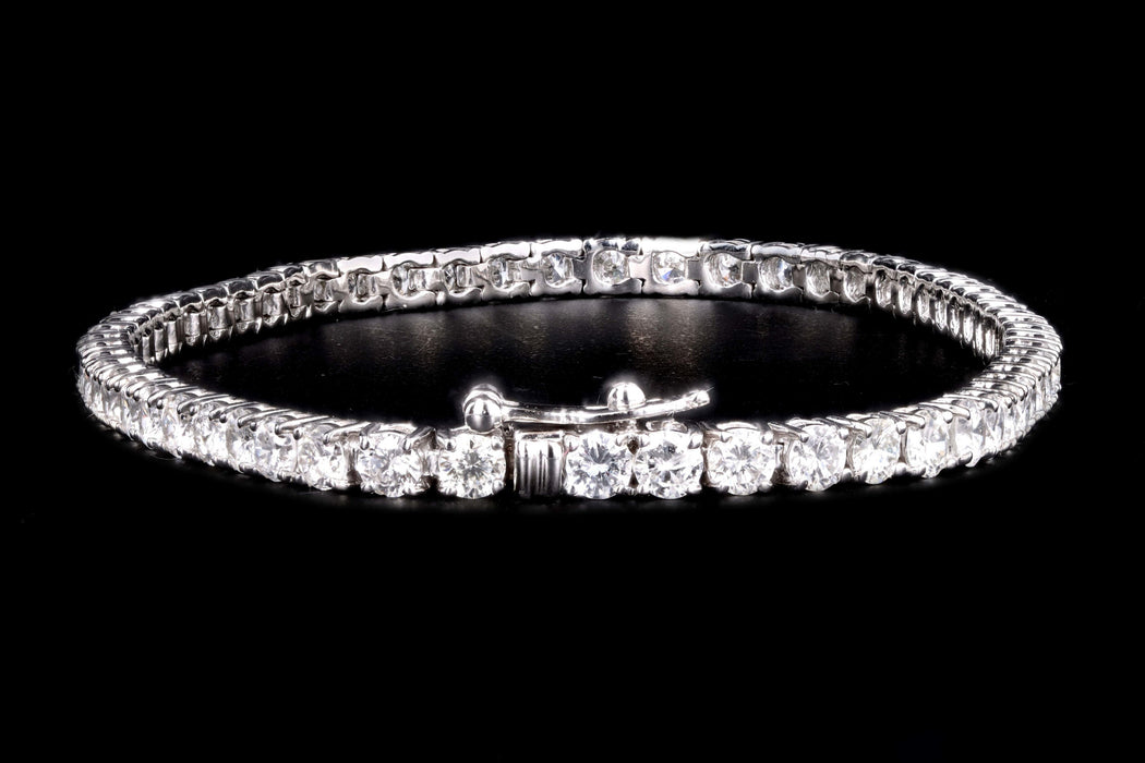New 14K White Gold 4.67 Carat Round Brilliant Cut Diamond Tennis Bracelet - Queen May