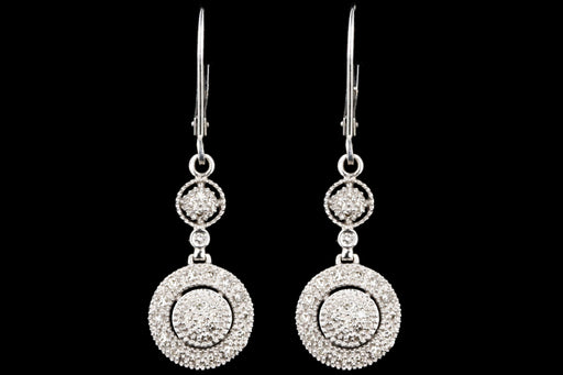 Modern 14K White Gold .50 Carats Total Weight Single Cut Diamond Drop Earrings