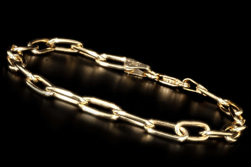 New 14K Yellow Gold Paperclip Chain Bracelet - Queen May