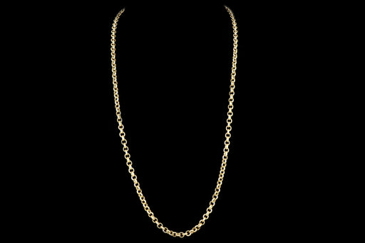 Modern 18K Yellow Gold Rolo Chain - Queen May