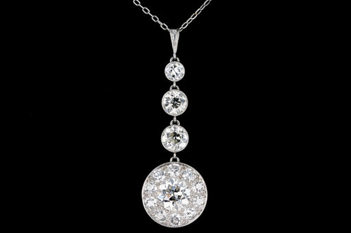 Rare Platinum Art Deco Diamond Necklace 3.68 Carats in Total - Queen May