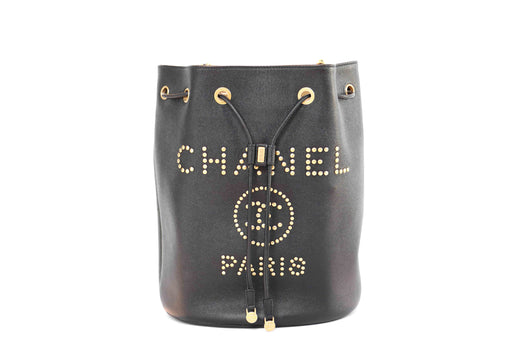 Chanel Caviar Deauville Drawstring Black Bucket Bag - Queen May