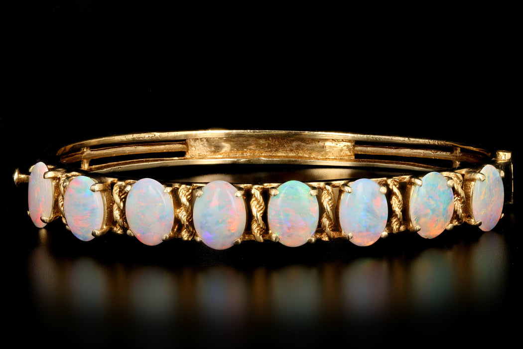 Retro 14K Yellow Gold 4 Carat Opal Bracelet - Queen May