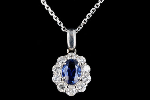 Modern Platinum .64 Carat Sapphire & Diamond Pendant Necklace - Queen May