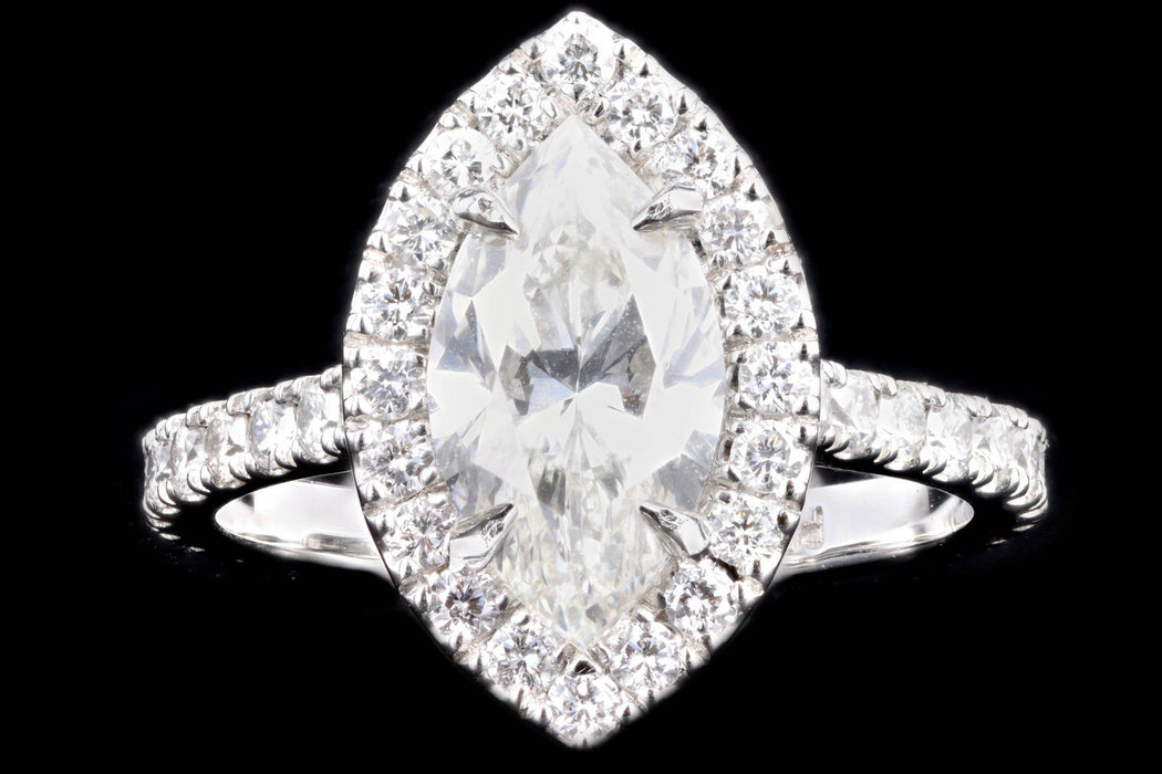 New Platinum 2.00 Carat Marquise Cut Diamond Halo Engagement Ring GIA Certified - Queen May