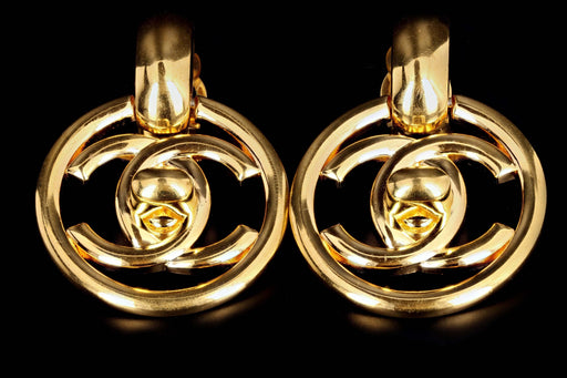 Vintage Chanel Gold Plated Doorknocker Large Clip On Earrings - Queen May