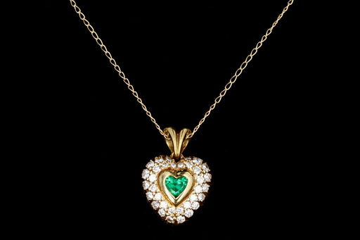 Modern 18K Yellow Gold .50 Carat Emerald and Diamond Heart - Queen May